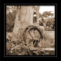 "Photograph of ""Wheel  & Tree"" (Sepia)"