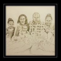 Pencil Sketch of Family Portrait