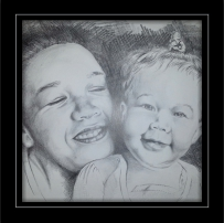 Pencil sketch of Mother & Child